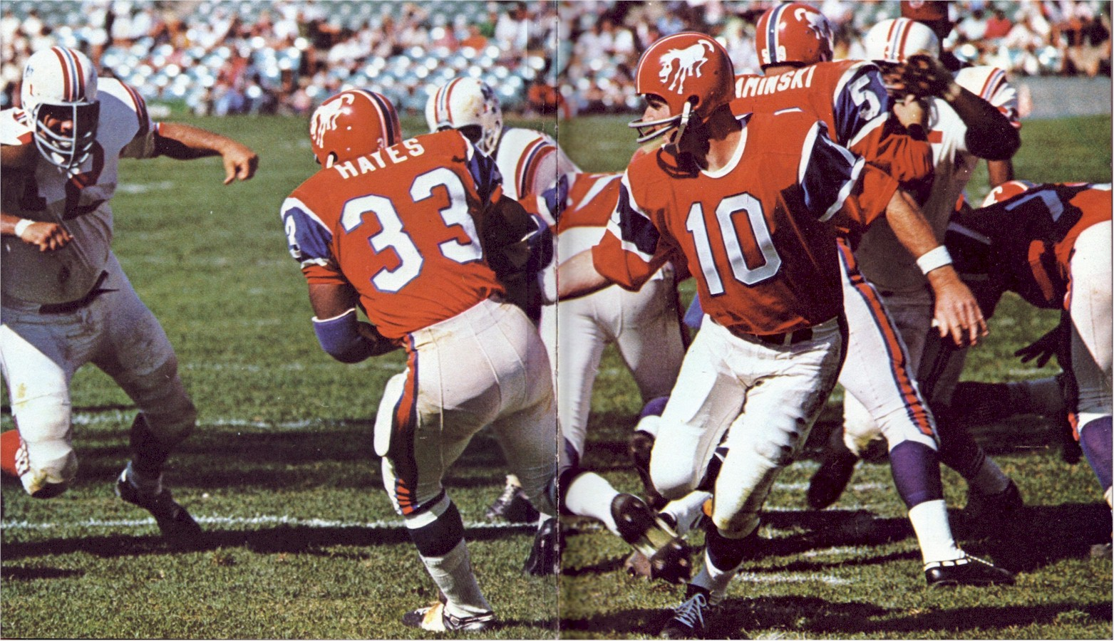 ... Larry Kaminski in 1966 Bronco uniforms, against the Boston Patriots